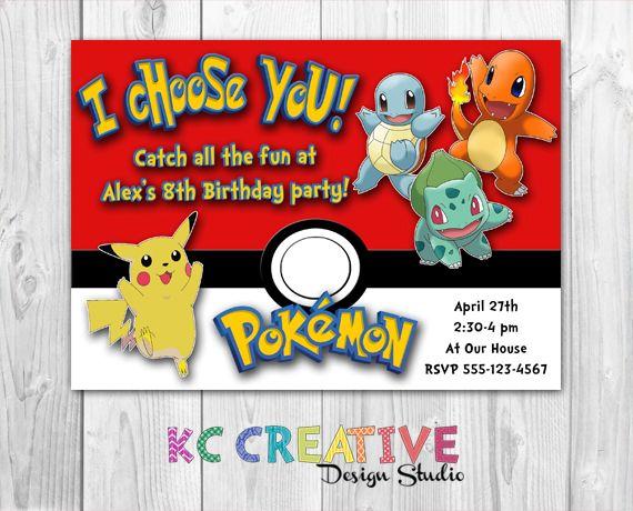 I Choose You Pokemon Themed Birthday Party Invitation Pikachu
