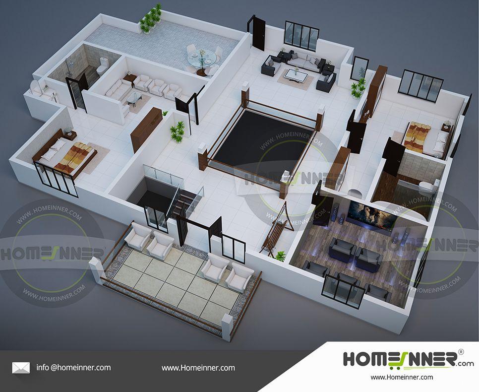 3D home plan 2800 sq ft 2BHK floor plan in 2020 | Modern ...