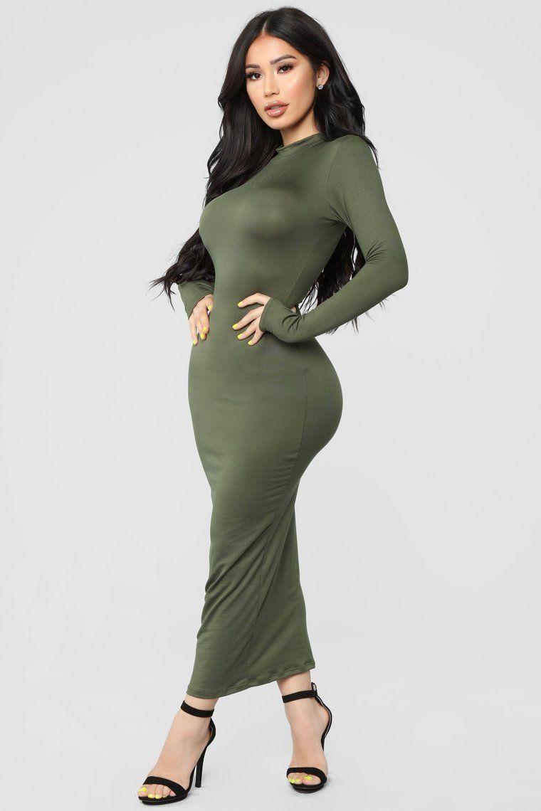 Full Coverage Maxi Dress Olive in 2020 Short women