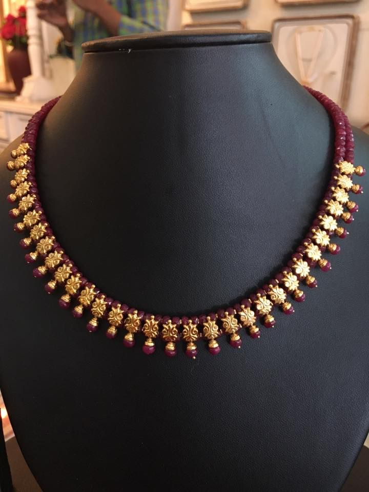Ruby beads Necklace | jewellery... | Pinterest | Bead necklaces ...