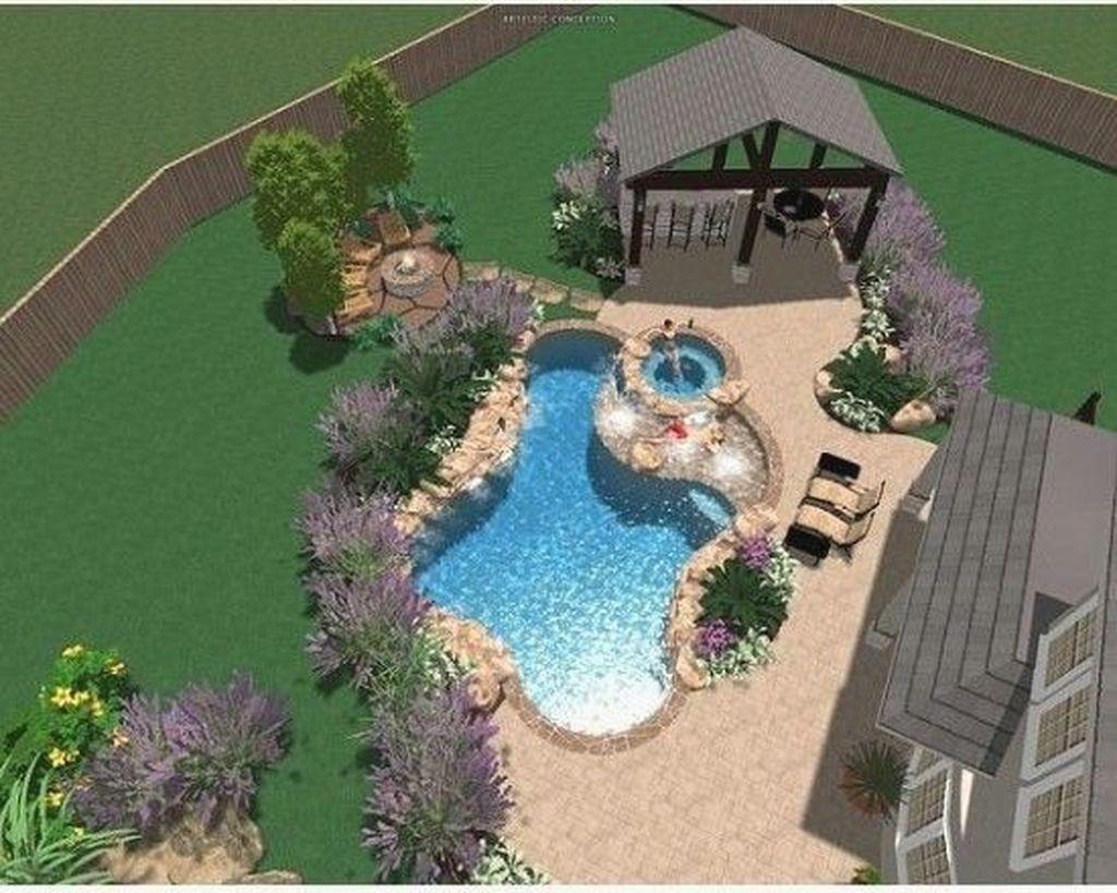 45 Landscaping Ideas For Backyard Swimming Pools Page 46 Of 49 Ciara Decor Modern Desi Backyard Pool Landscaping Backyard Pool Designs Small Pool Design