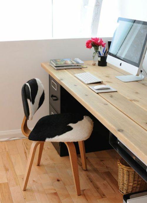 Schreibtisch Selber Bauen Diy Büro Ideen Holzbohlen Natur
