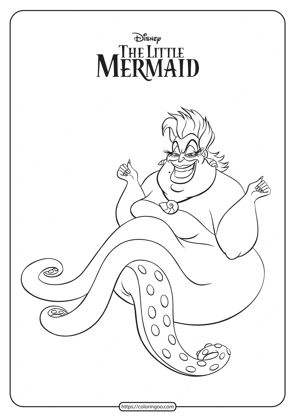 Free Printable Ursula Coloring Pages 1 Disney Princess Coloring Pages Mermaid Coloring Pages My Little Pony Coloring