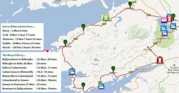 Driving The Ring Of Kerry Map on