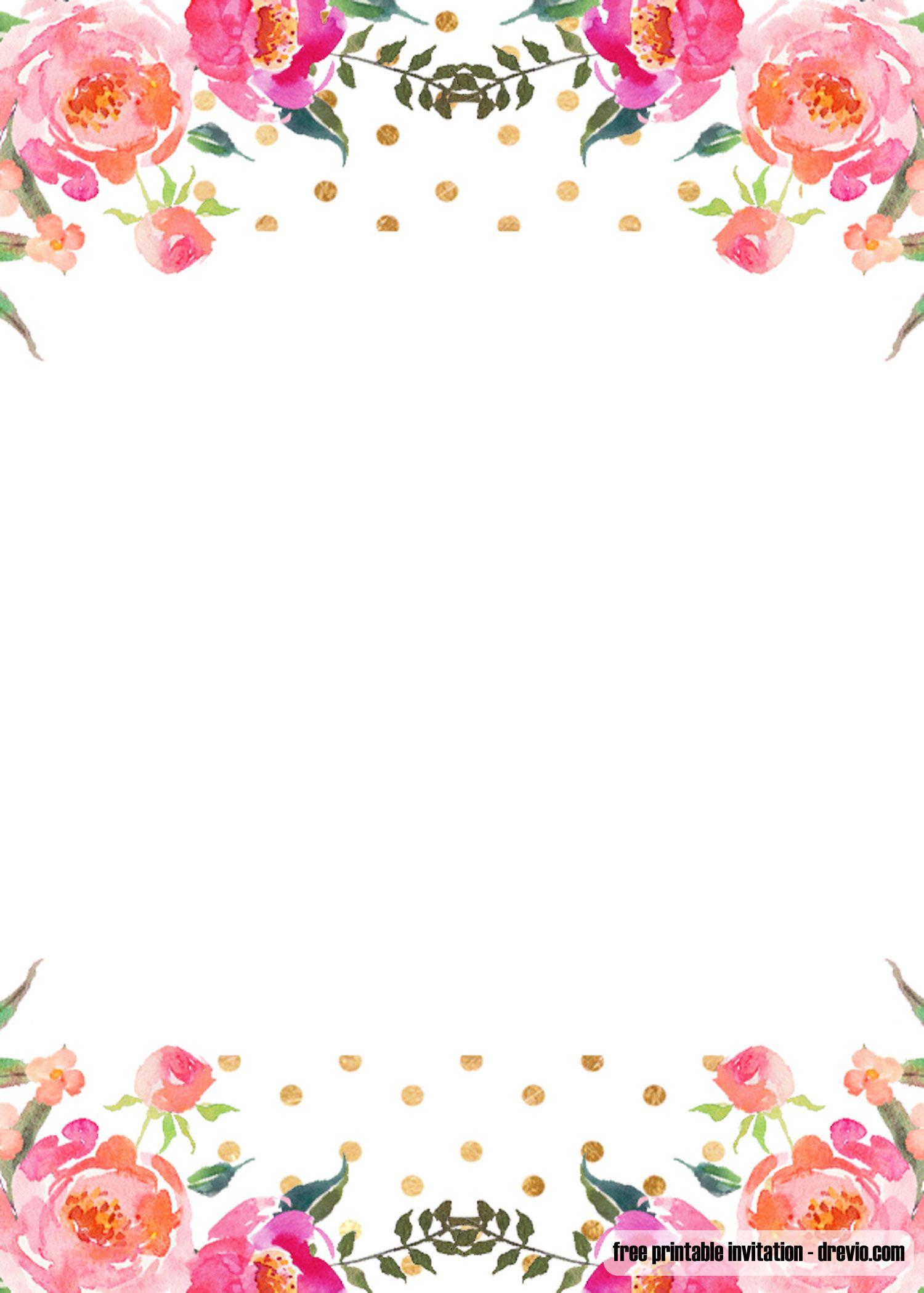 Free Pink Floral Invitation Templates Free Printable Baby Shower Invitations Template Floral Invitations Template Floral Invitation Floral Shower Invitations