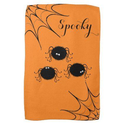 Halloween Kitchen Towel-Dancing Spiders Kitchen Towel - halloween - halloween decor images
