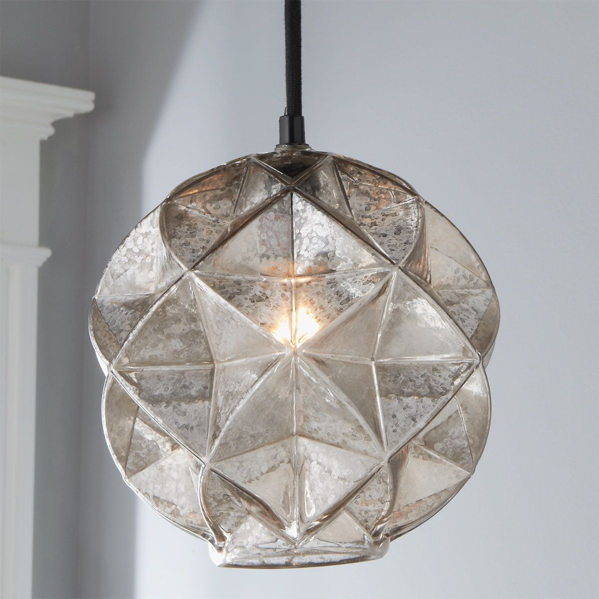 Mercury Glass Geodesic Dome Pendant In 2021 Dome Pendant Lighting Mercury Glass Chandelier Glass Pendant Light