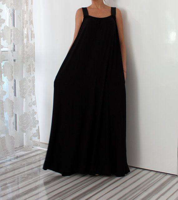 Black Sleeveless Maxi Dress with Pockets, Plus Size Dress, Cotton ...