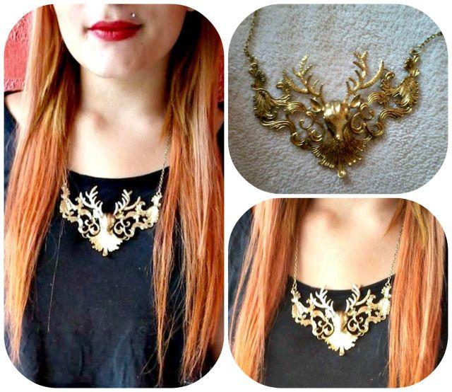 Vintage Punk Necklace Exaggerated Elk Antlers Patterned Design 9296