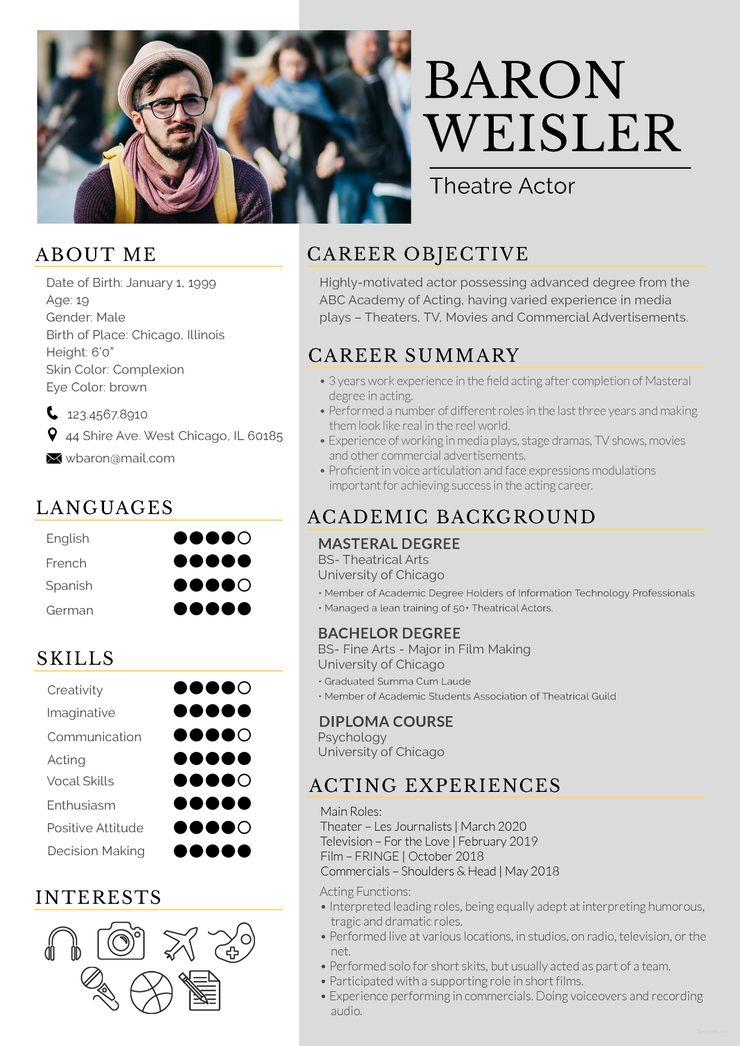 14++ Theatre acting resume template Examples