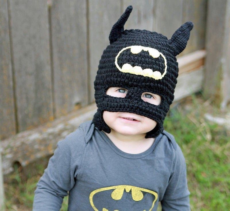 Crochet baby batman hat, half mask, made with 30% milk protein fiber ...