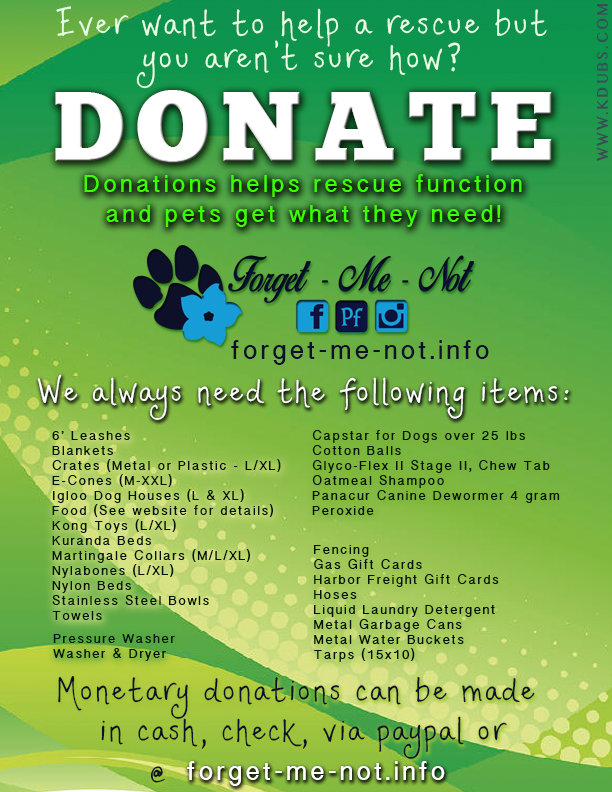 ***DONATIONS APPRECIATED***  Our rescue works off of donations and can always use more to keep the dogs safe and happy until they find their Furever homes! For each dog we adopt out we are always bringing more in!  Link to Donate Items: www.amazon.com/gp/registry/wishlist/ref=nav_wish_list