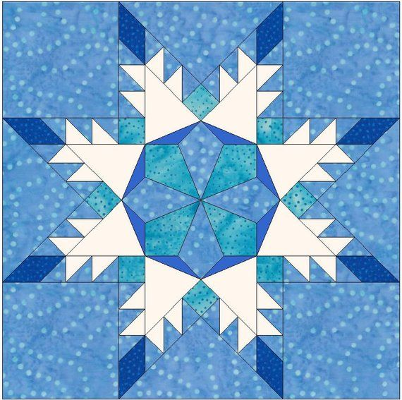 snowflake template for quilting  Snowflake Star Quilt Template Quilting Block Pattern ...