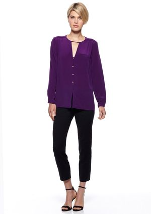 FRENCH CONNECTION T-Winter Silk Long Sleeve Top - Beautiful Amethyst jewel  tone for fall
