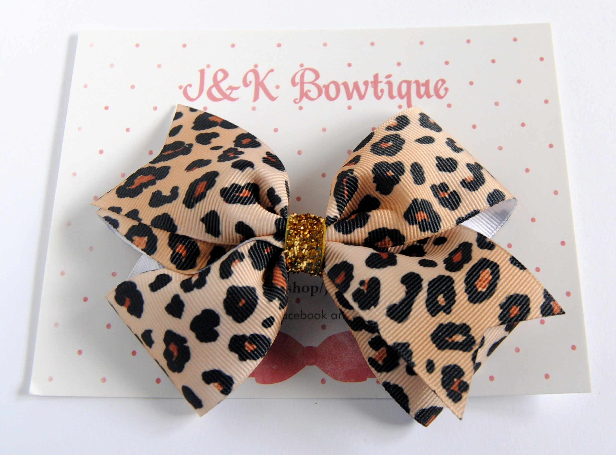 "Giraffe and  Cheetah Print Pinwheels 5/"" hair bows LOT of 2.... 1 of each color"