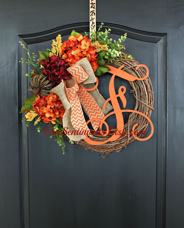 Diy Monogram Fall Wreath: Fall Grapevine Wreath- Monogram Wreaths For Door