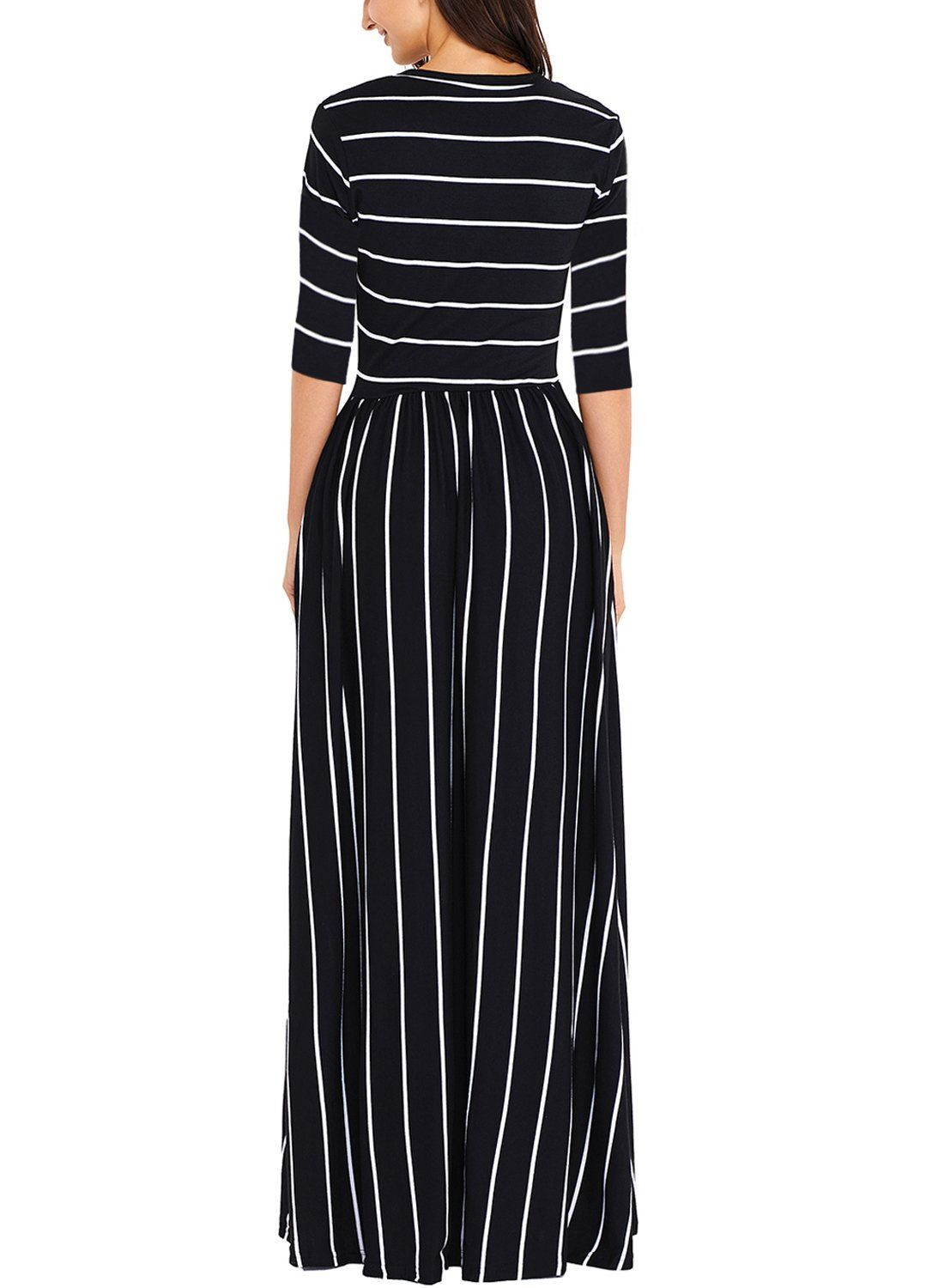 8ba123ca6ef02 Maternity Fashion - smart maternity dresses : HOTAPEI Womens Summer Casual  Loose Striped Long Tshirt Dress 3/4 Sleeve Pocket Maxi Dresses Black and  White ...