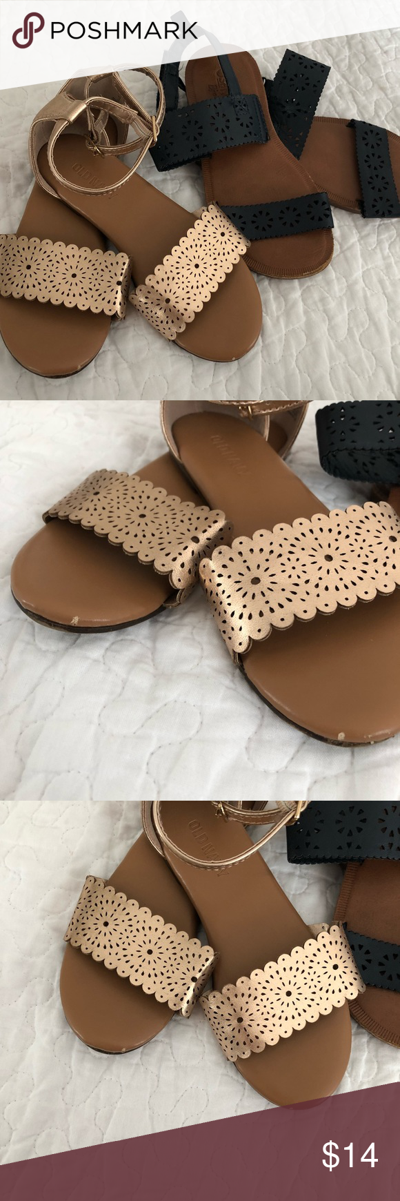 eaf71c1cd56 Girls Sandal Bundle - Strap Rosegold   Navy Velcro Includes (2) pairs size  12 Good condition (minor wear shown in photos) Old Navy Rose Gold pretty  Strap ...