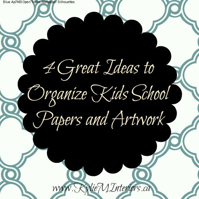 ideas and tips to organize kids school papers and artwork. Organizing tips using cork, clipboards and more