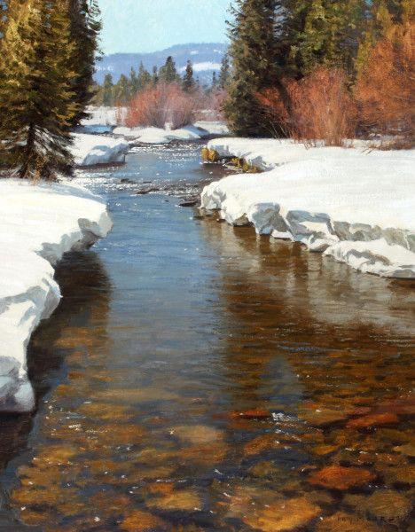 Jay Moore Oil Landscape Water Is So Wonderful Looks Like You Could Wade In Brrr Http Www Best Winter Landscape Painting Landscape Paintings Landscape