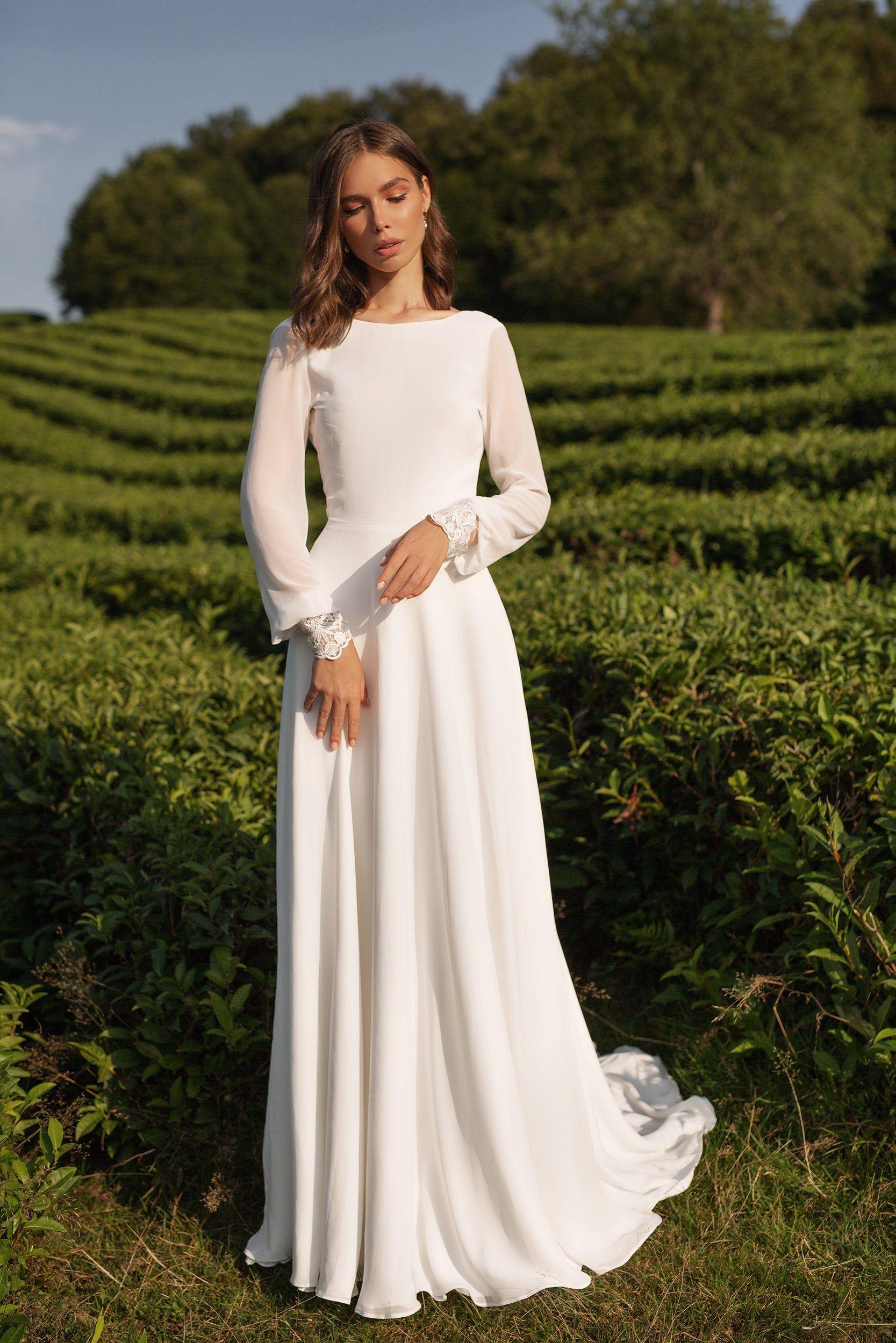 Chiffon Wedding Dress Anasteisha Long Sleeves Simple Wedding Dress With Open Back Chiffon Wedding Dress Long Wedding Dresses Wedding Dresses Simple [ 2500 x 1667 Pixel ]