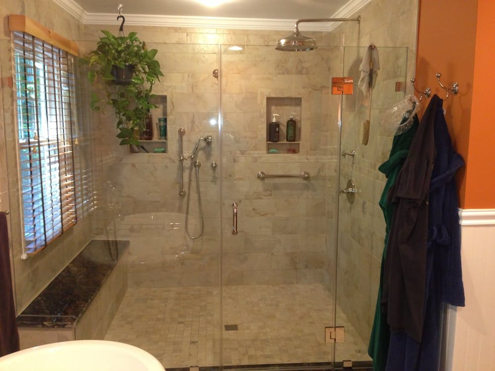 Photo Of Image Flooring, Kitchen U0026 Bath   Oakton, VA, United States. Large  Walk In Shower Enclosure W/ Granite Bench Seating.