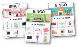 Loto Pour Apprendre Les Noms Des Meubles Objets Et Pieces De La Maison En Anglais Correspond Au Jeu De Bingo Lot Carte De Bingo Jeux Anglais Maison Anglaise