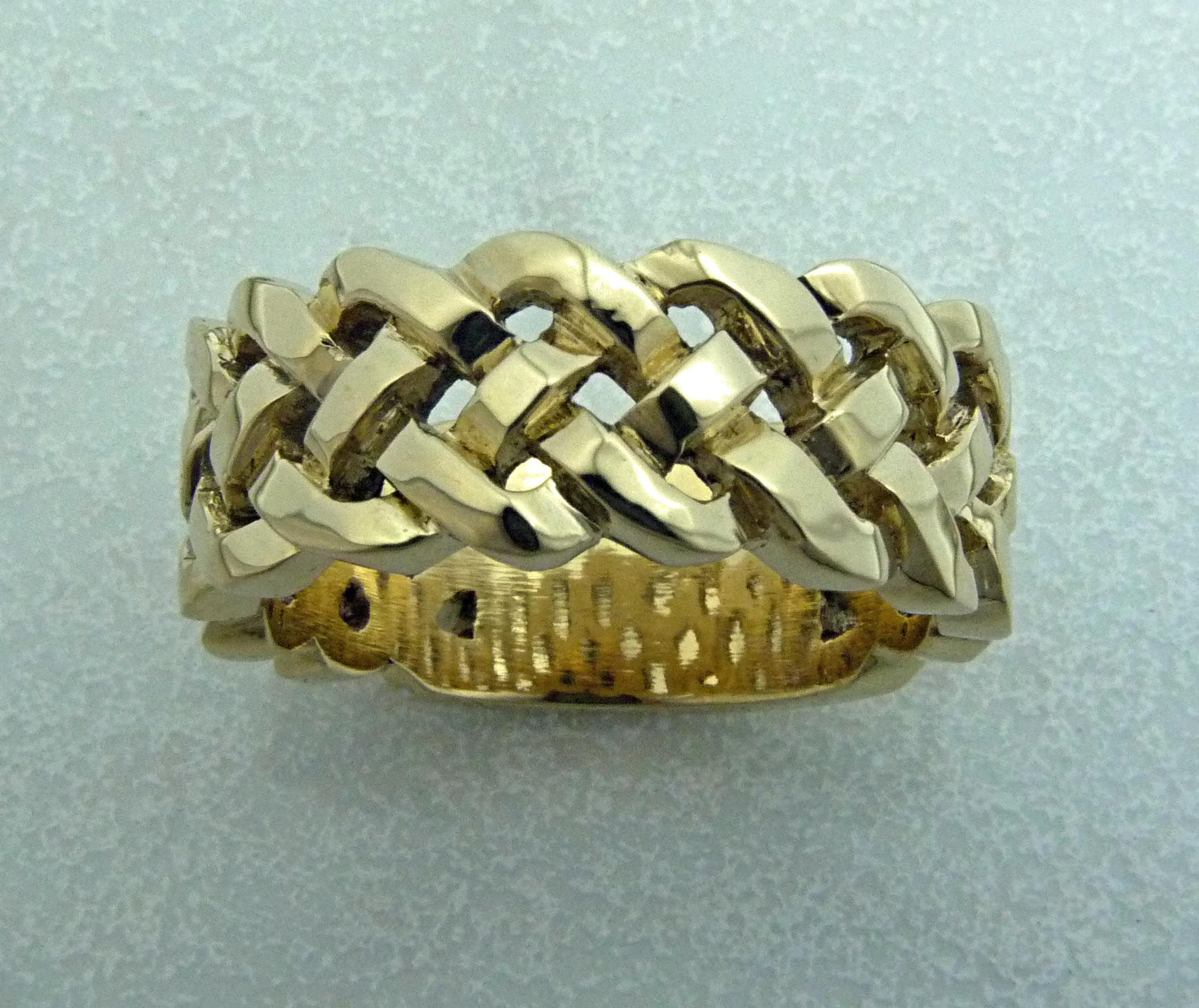Gents Gold braided wedding band using customers gold