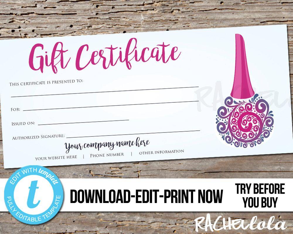 Editable Custom Nail Salon Gift Certificate Printable Template Digital Instant Download Templett Purp Printable Gift Certificate Salon Gifts Pedicure Gift
