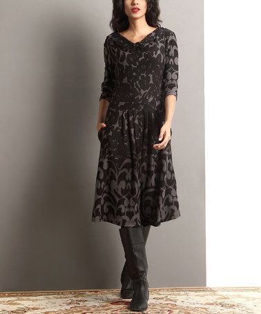 Another great find on #zulily! Black Floral Drape Neck Fit & Flare Dress #zulilyfinds