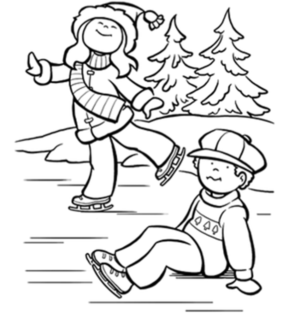 free winter coloring pages ice skating kids  Christmas  Pinterest