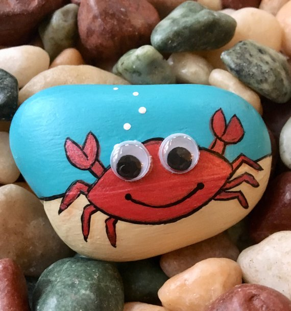 Painted Rock Cute Googly-eyed Crab