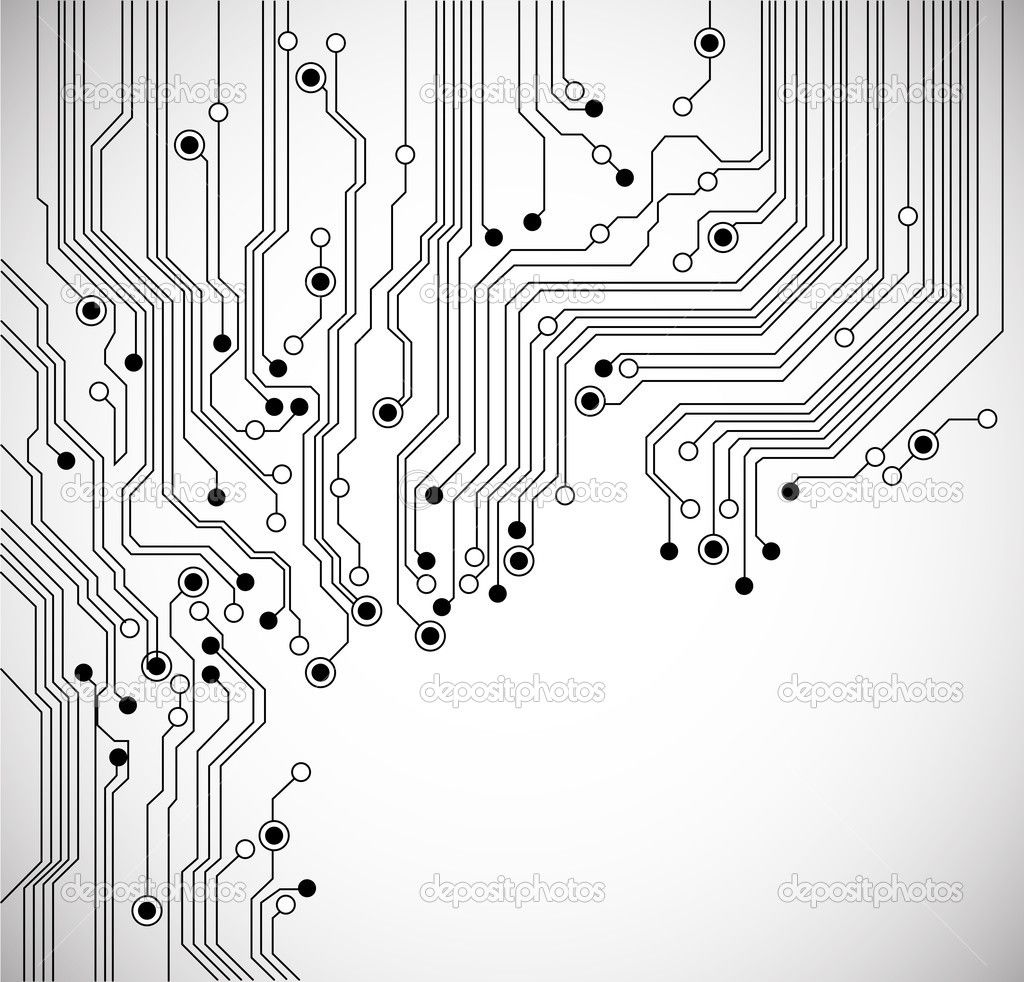 Circuit Board Background Texture Vector Isolated On White Abstract With Old Computer