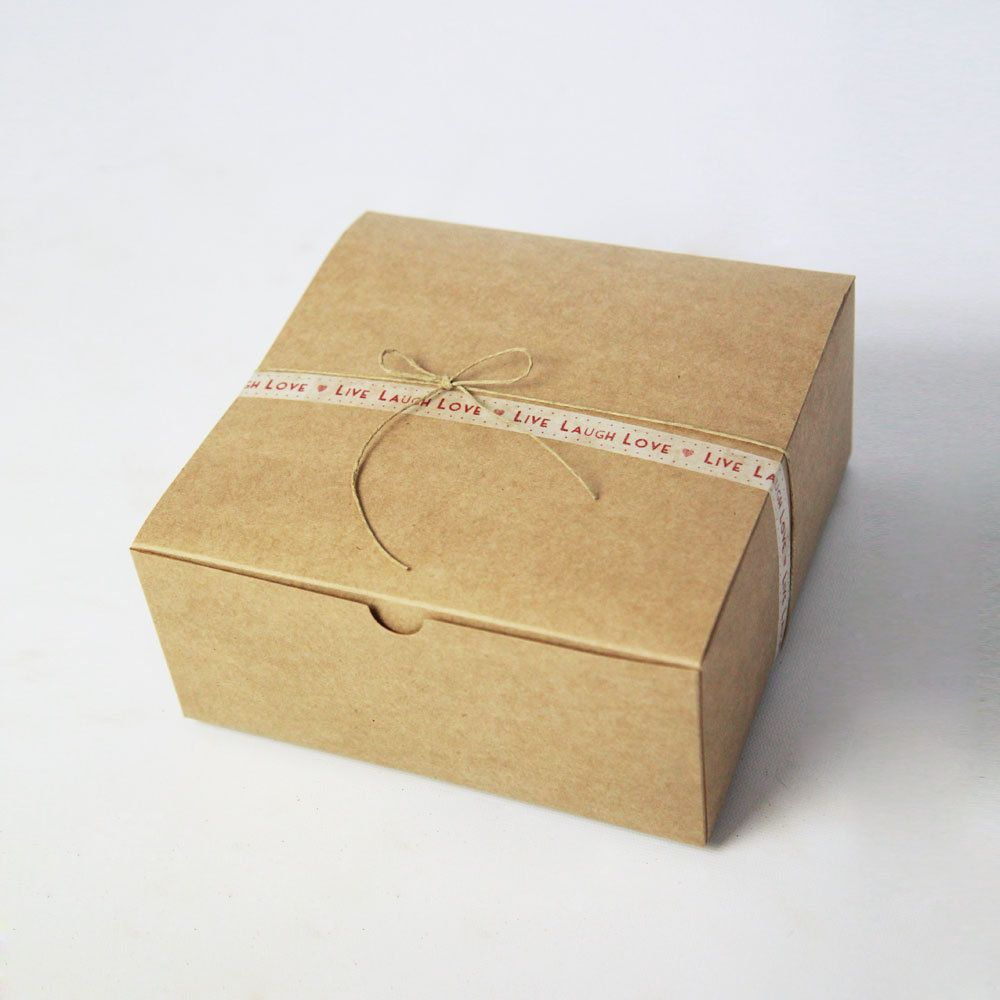 8 X 8 X 3 5 Inch Kraft Gift Boxes Lot Of 5 Party Favor Etsy Bridesmaid Gift Boxes Dessert Packaging Groomsmen Gift Box