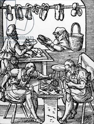 "The Shoe Maker from ""Panoplia Omnium"", 1568, Hartman Schopper, Frankfurt"