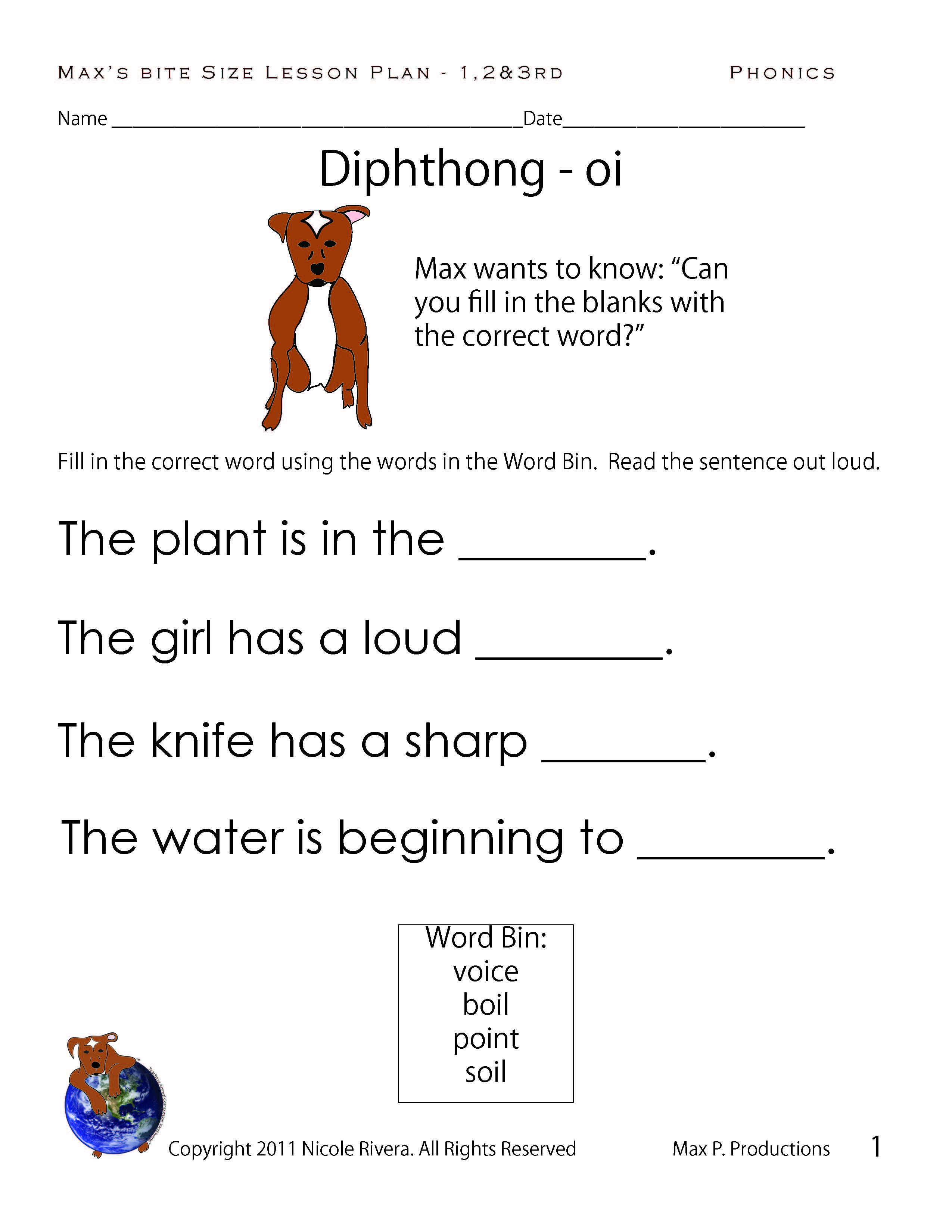 Diphthong Oi Story Worksheet   Printable Worksheets and Activities for  Teachers [ 3300 x 2550 Pixel ]