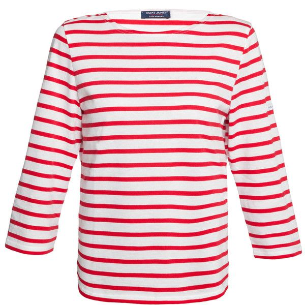 Saint James Galathee White And Red Striped Shirt (€90) ❤ liked on Polyvore featuring tops, t-shirts, shirts, red, striped boatneck top, 3/4 sleeve shirts, white 3/4 sleeve shirt, boat neck tops and nautical striped shirt