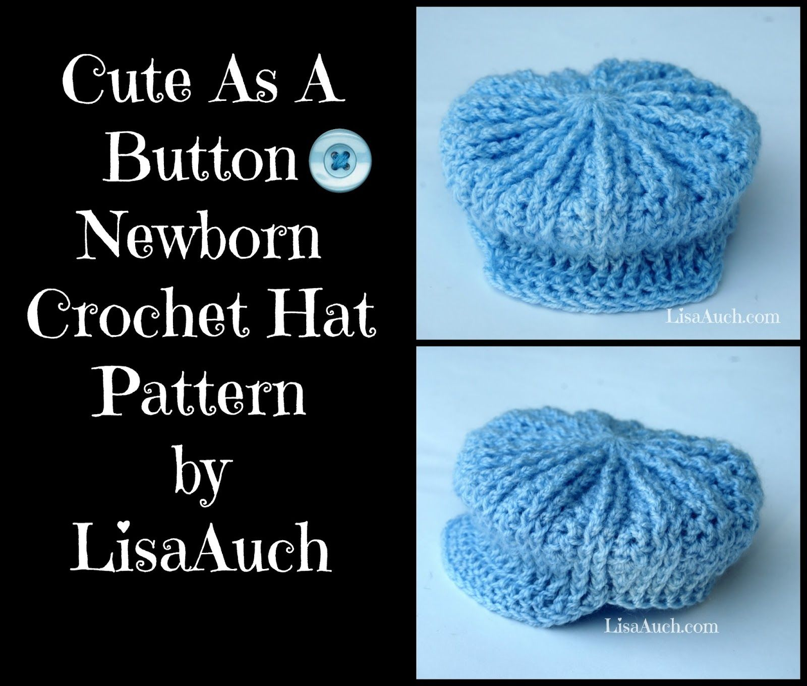 cute as a button crochet hat pattern newborn size perfect ...