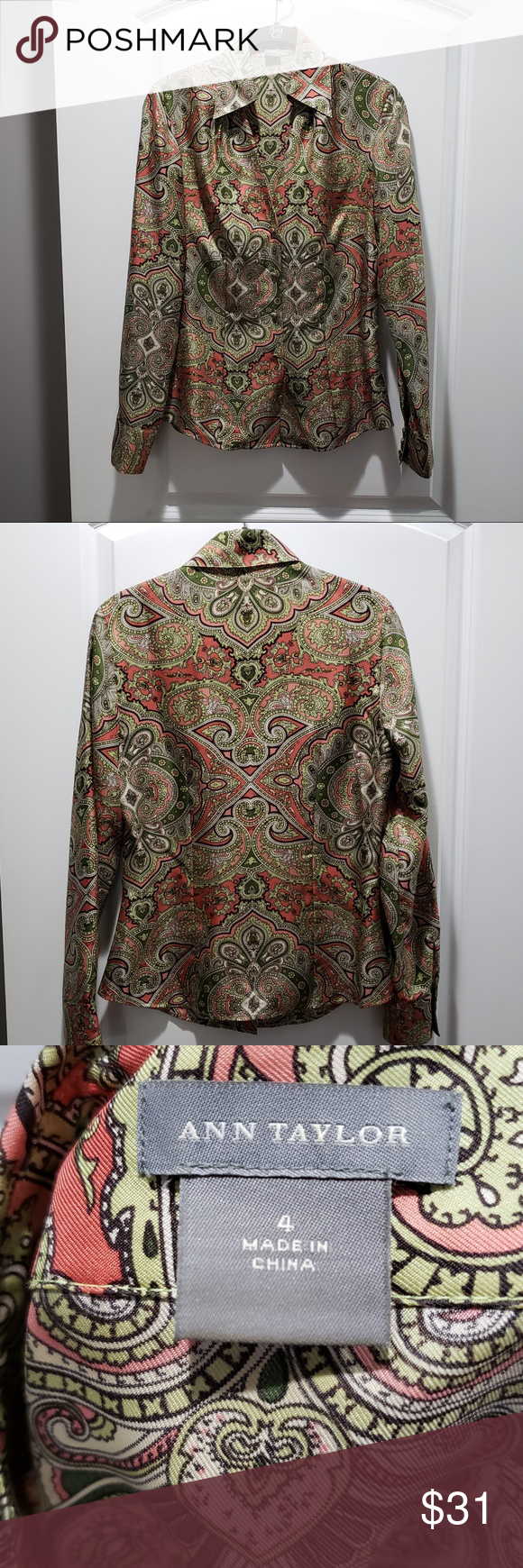 94e5e82a5ac79c Ann Taylor Olive Green Paisley Silk Blouse Size 4 NWOT: Pretty, olive green/