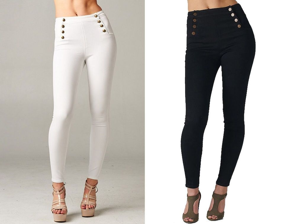 8513255ce2100 Sailor High Waisted Skinny Jeans Stretch denim Jeggings Cello Black White  Pants #Cello #SlimSkinny