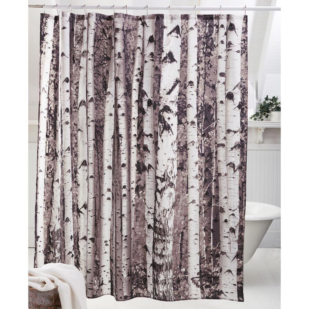 Kikkerland Shower Curtain Birch With Images Fabric Shower
