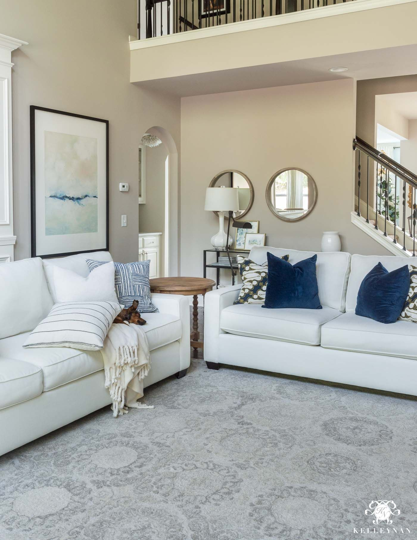 Affordable Furnishings For A Transitional Living Room Blue