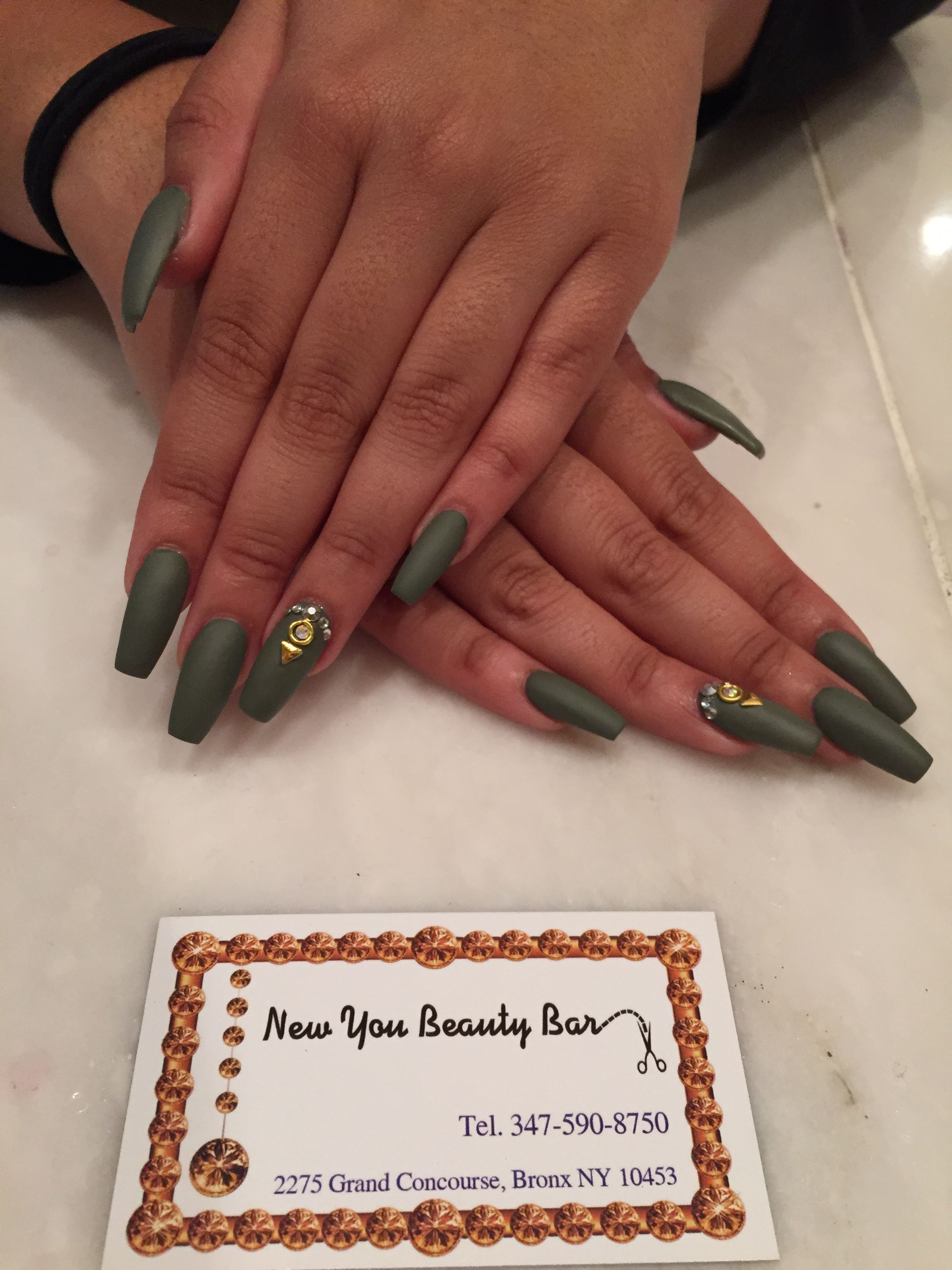 Olive green matte coffin ballerina nails gold jewels long | Nails ...