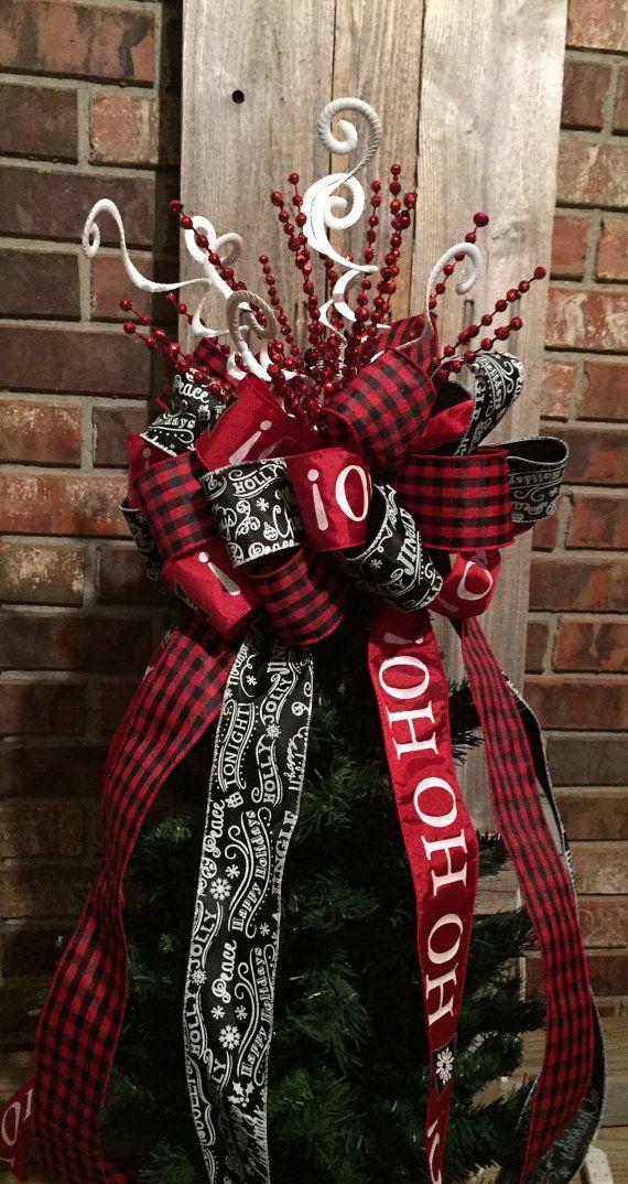 Christmas Tree Bow Topper Large Red White Black Buffalo Plaid