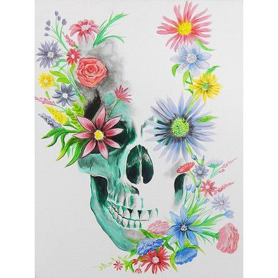 Buy Art For Less Skulls N Flowers By Ed Capeau Painting Print On Wrapped Canvas Size Sugar Skull Painting Skull Wallpaper Posters Art Prints