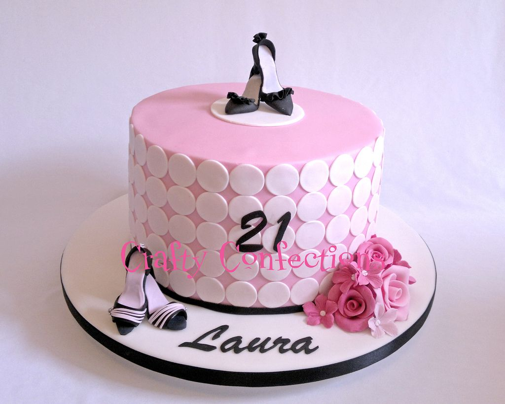 Sensational Pink Girly Shoe Themed 21St Birthday Cake Flickr Photo Birthday Cards Printable Benkemecafe Filternl