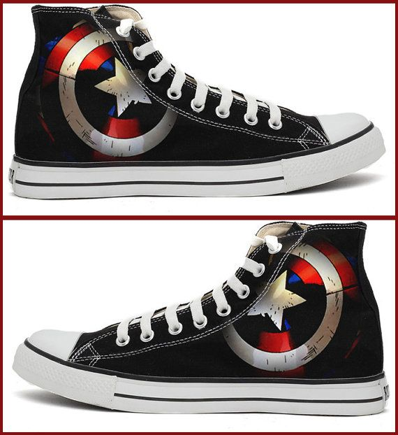 9d39465b6747 Captain America Shield Converse Shoes by RahulMistry on Etsy