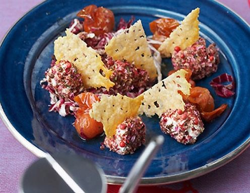 Frischkäsepralinen mit karamellisierten Cocktailparadeisern - Rezept - ichkoche.at