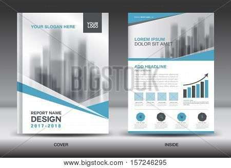 Blue Cover Annual Report Brochure Flyer Template Creative Design