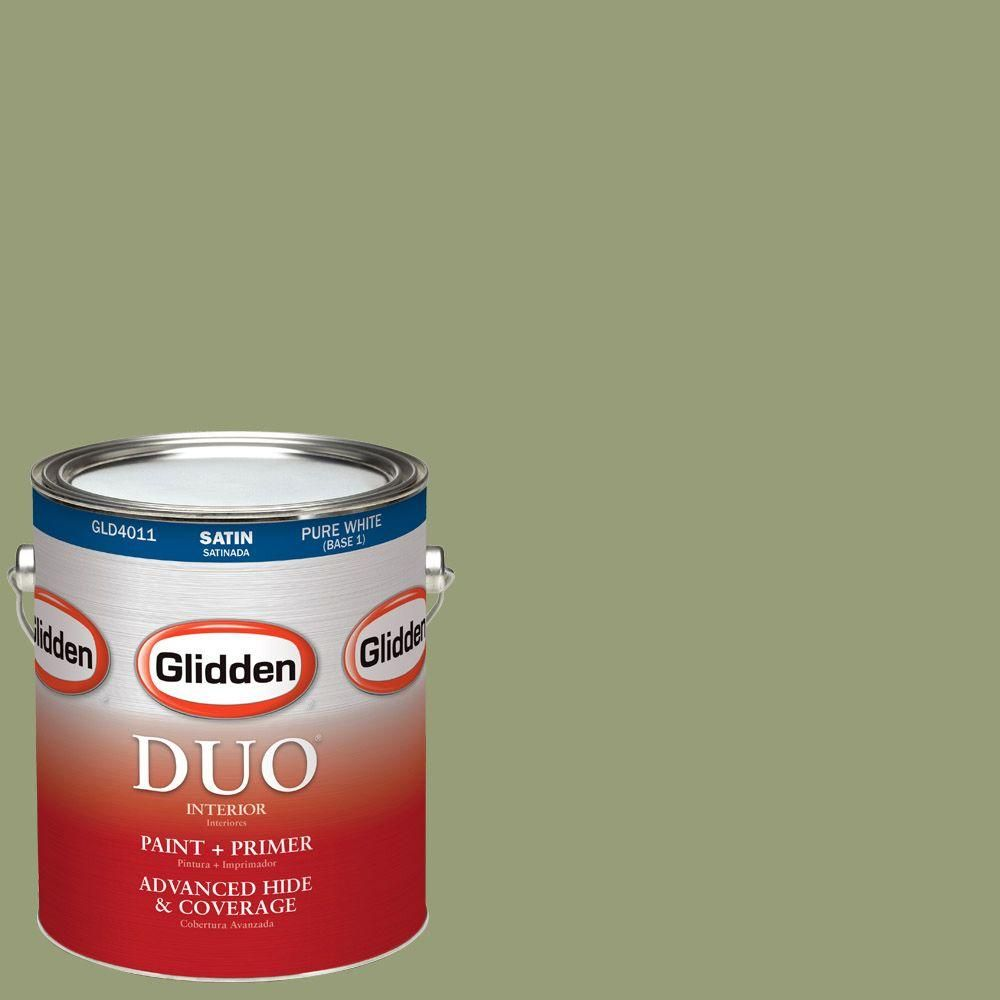 Glidden DUO 1-gal. #HDGG39U Olive Grove Satin Latex Interior Paint with Primer